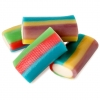 Mimi's Sweets Clear Tornado Minicables Bite size rainbow-colored soft filled licorice bars.